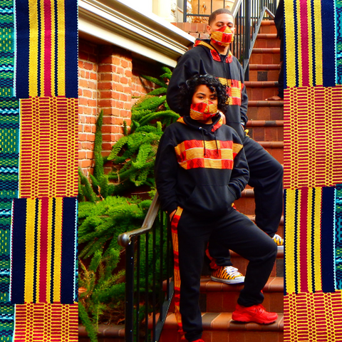 Black Diamond Kente Track Suit | African Print Unisex Sweatsuit