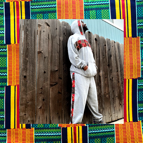 Maroon Pyramid Tracksuit | African Print Unisex Sweatsuit