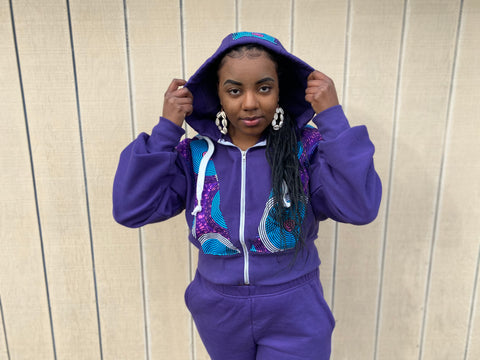 RETRO SupSweatsuit | Heavy weight Track Suit | Women's African Print Jogger Sweat Suit