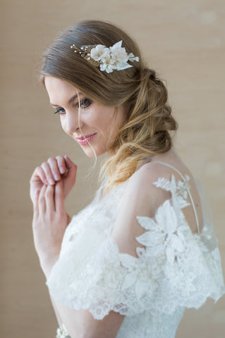 Bridal Wedding bohemian-inspired floral hair piece by LeFlowers Bridal
