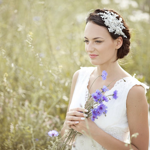 Bridal Wedding bohemian-inspired floral hair piece