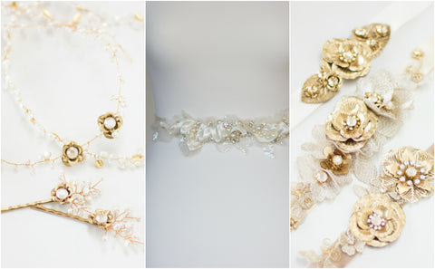 Gold wedding accessories, Bridal hair piece