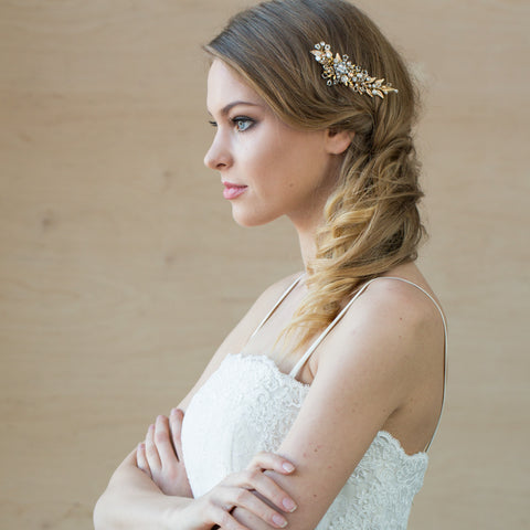 Gold Wedding hair comb I Bridal hair accessories