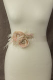 Blush pink Wedding belt sash. Blush belt with ostrich feathers. Bridal belt sash with feathers.
