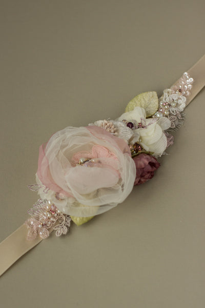 Blush bridal belt sash. Romantic Rustic Greenery wedding floral belts sashes