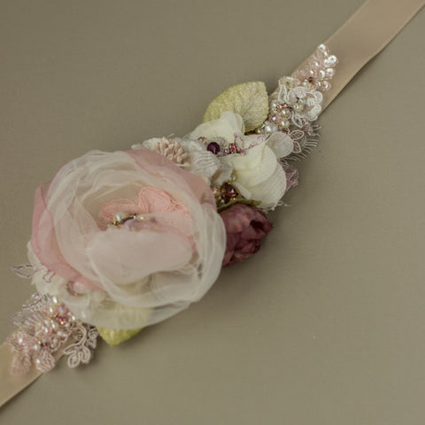 Greenery Blush bridal belt sash. Dusty rose wedding belt sash.