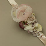 Romantic Rustic Greenery wedding floral belts sashes. Blush bridal belt sash.