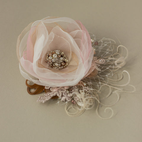 Rustic wedding headpiece, Blush Rose Bridal Hair flower piece, Wedding fascinator
