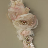 Floral blush pink bridal belt. Romantic blush rose wedding sashes belts.