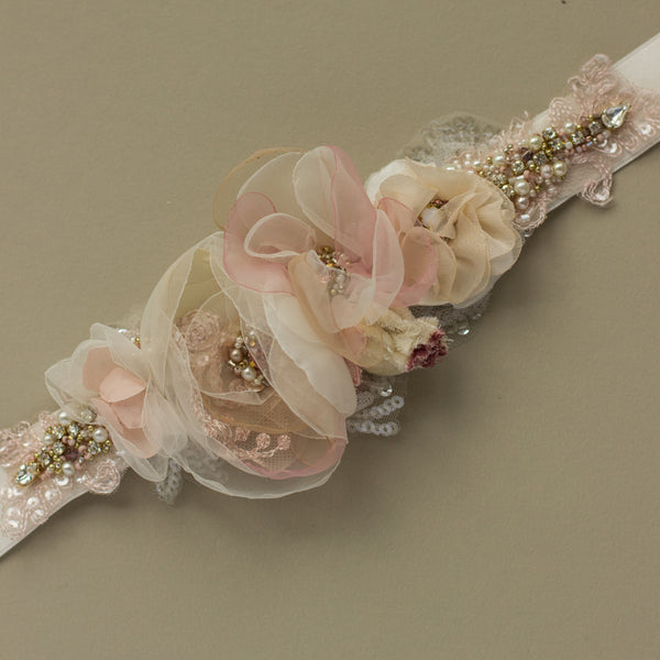 Romantic blush rose wedding sashes belts. Floral blush bridal belt