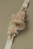 Romantic blush rose wedding sashes belts.
