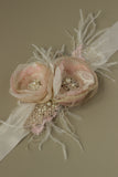 Romantic dusty blush wedding belt sash, Blush pink bridal belt sash with feathers.
