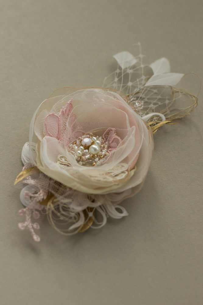 Blush Light Pink Ivory Rose Flower Hair Clip Fascinator Wedding Bridesmaid 6685