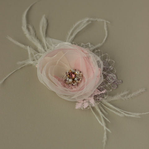 Blush Pink Rose wedding flower headpiece, Bridal Flower Hairpiece, Fascinator