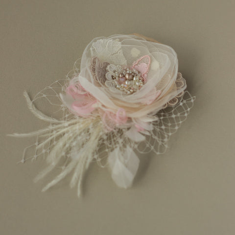 Wedding headpiece, Blush Bridal flower hairpiece, Fascinator