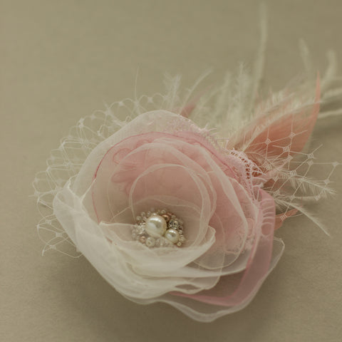 Blush Wedding headpiece, Blush pink bridal flower hairpiece, Flower fascinator
