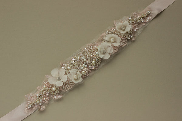 Blush floral bridal belt sash. Floral blush pink wedding sashes belts