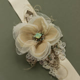 Burlap Champagne Flower bridal belt, Wedding sashes belts
