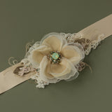 Handmade Burlap Champagne Flower bridal belt, Wedding sashes belts