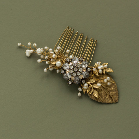 Gold wedding headpiece, Romantic Rustic Greenery bridal hair comb fascinator.
