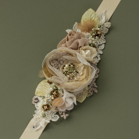 Greenish wedding accessories, Champagne bridal belt sash