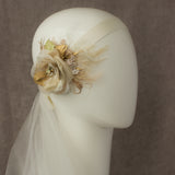 Wedding headpiece, Champagne hair flower,  Gold bridal flower hairpiece