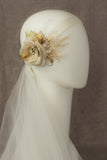 Rustic Wedding headpiece, Champagne hair flower,