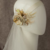 Wedding headpiece, Champagne hair flower, Gold wedding hairpiece,  bridal flower hairpiece