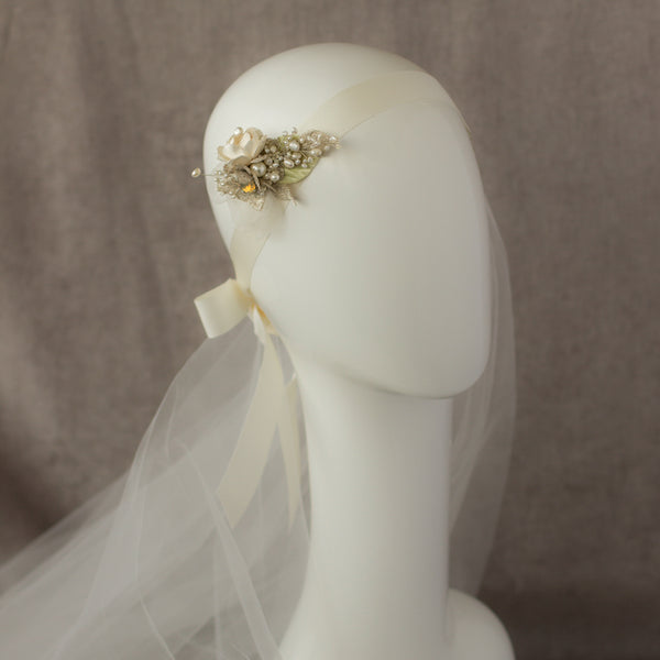 OOAK Romantic Rustic Greenery bridal floral hair piece fascinator, Wedding headpiece