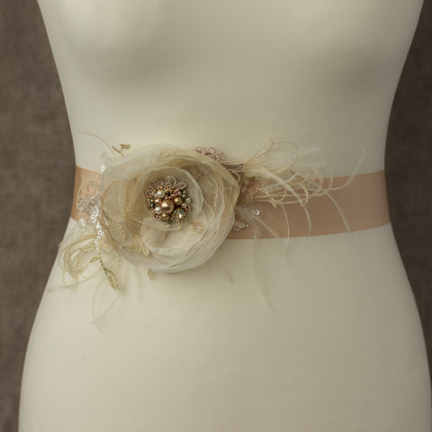 Champagne flower bridal belt sash, Feather wedding sashes belts