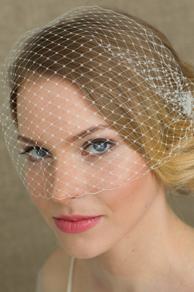 Wedding Bird cage Veil , Ivory Wedding birdcage veil