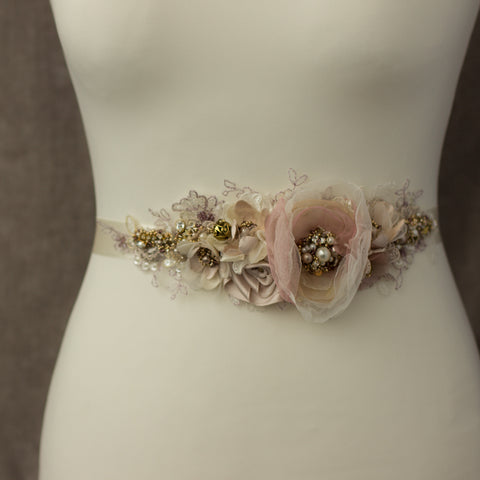 Mauve blush pink floral bridal belt sash, Romantic rustic  wedding belts sashes