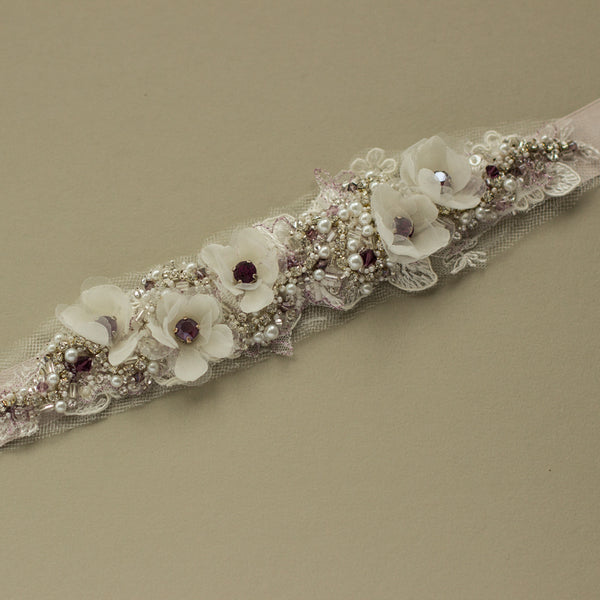 Plum Burgundy blush floral bridal belt sash RG-213