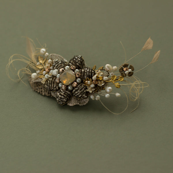 Antiqued rustic bridal hair piece, Wedding headpiece, Burlap hair clip