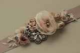 Romantic Natural dusty pink wedding dress belt sash. Bridal belt