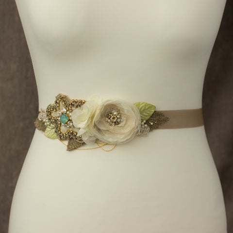 Burlap floral bridal belt sash RG-202, Rustic Wedding belts sashes