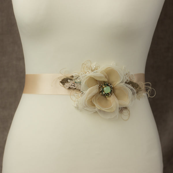 Burlap wedding belt sash, Champagne Flower bridal belt, Wedding sashes belts