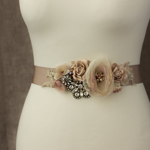 Romantic Natural dusty pink wedding dress belt sash. Bridal belt.