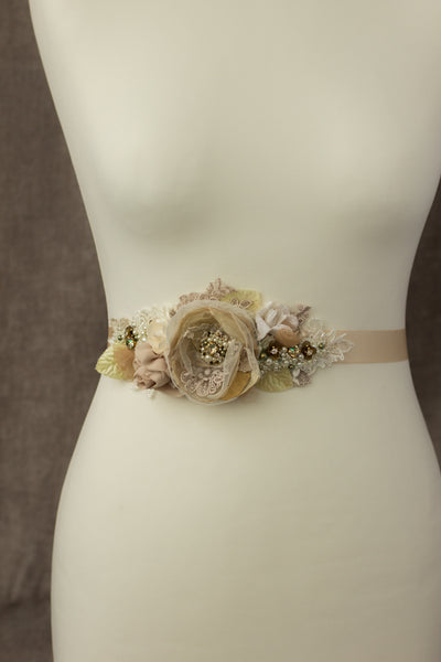 Champagne bridal belt sash, Rustic greenery wedding sashes belts