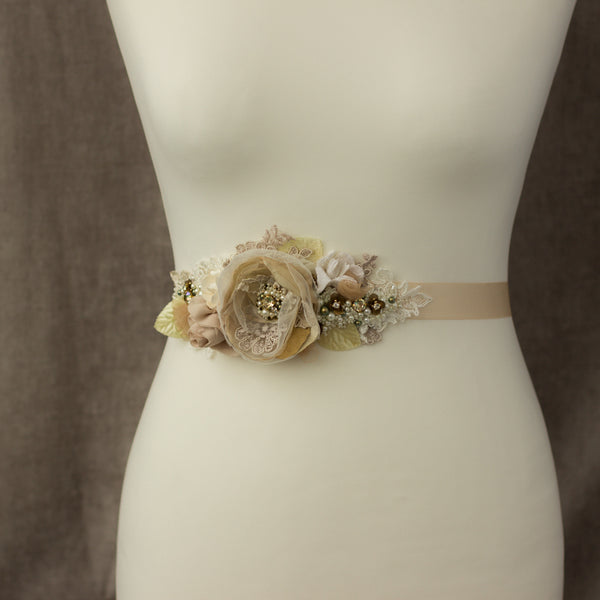 Champagne bridal belt sash, Rustic wedding sashes belts