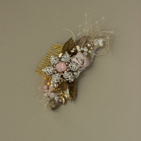 Blush Gold Burlap Bridal hair comb RG-220