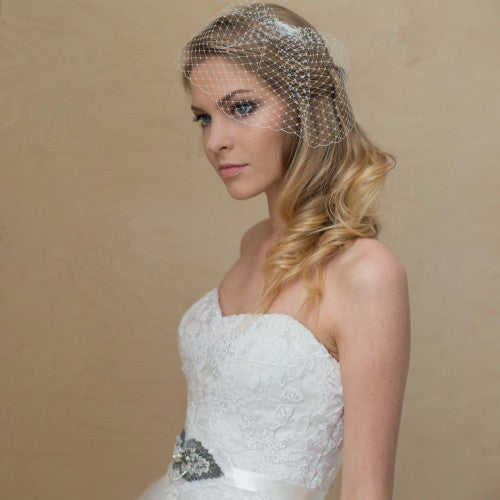 Bridal  Birdcage Wedge Veil - LeFlowers Bridal