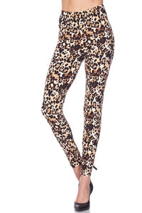 New Mix Animal Print Ankle Brushed Leggings