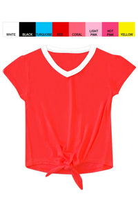 Cutie Patootie Girl's Softie Knit V-Neck Tee with Front Tie -Red