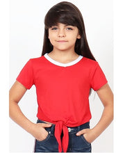 Load image into Gallery viewer, Cutie Patootie Girl's Softie Knit V-Neck Tee with Front Tie -Red