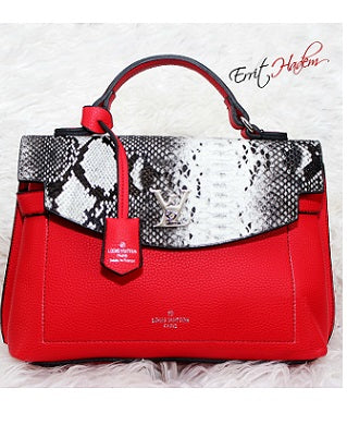 Red, Black and White Animal Skin Handbag