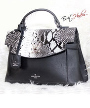 Load image into Gallery viewer, Black and White Animal Skin Handbag