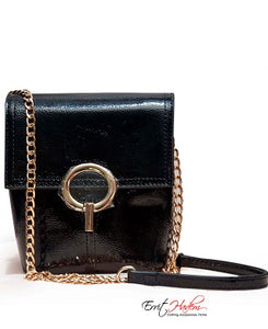 Handbag with Gold Chain and Flap Closure
