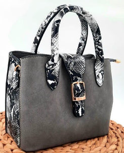 Grey and Animal Skin Women Handbag
