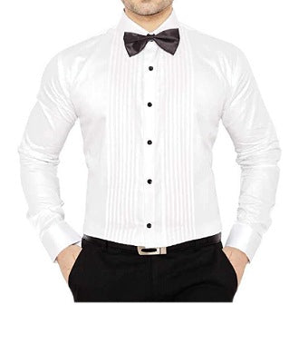 Makrom White Men Shirt With A Bow Tie